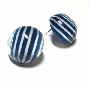 Navy Blue White Clear Vintage Retro Studs Earring